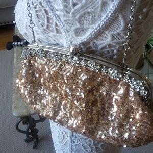 GLITZY Gold SEQUIN & Rhinestone CHAIN Handbag